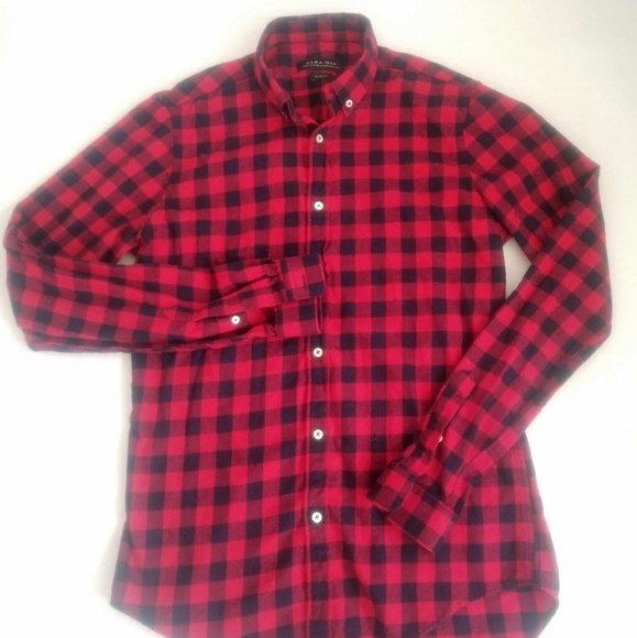 060a1c87 ZARA MAN SLIM FIT CHECKERED FLANNEL SHIRT. M_5a8708e5fcdc319aae995607